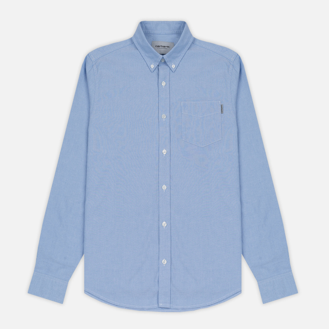 Мужская рубашка Carhartt WIP Button Down Pocket Cotton Oxford 4.7 Oz Bleach