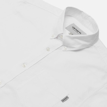 Мужская рубашка Carhartt WIP Button Down Pocket Cotton Oxford 4.7 Oz White фото- 2