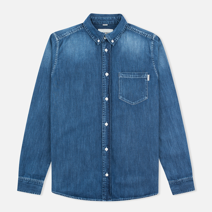 Мужская рубашка Carhartt WIP Civil Nashville 5.8. Oz Blue Fidelity Washed