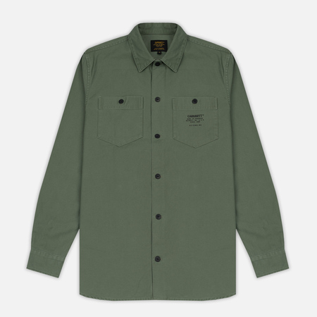 Мужская рубашка Carhartt WIP Curt Dollar Green/Black Stone Washed