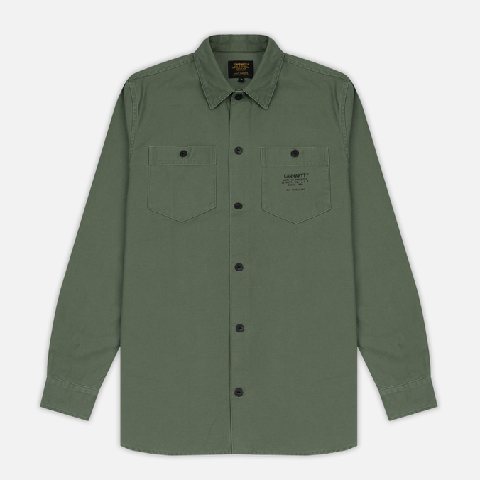 Мужская рубашка Carhartt WIP Curt Dollar Green/Black Stone Washed