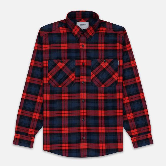 Мужская рубашка Carhartt WIP Pelkey Check 5.9 Oz Cardinal/Blue