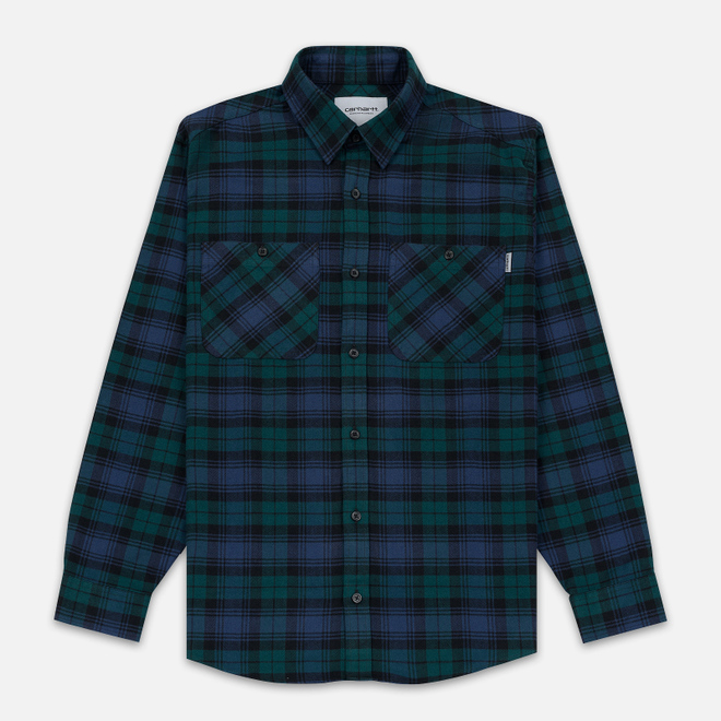 Мужская рубашка Carhartt WIP Pelkey Check 5.9 Oz Dark Fir/Blue