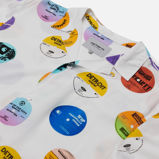 Мужская рубашка Carhartt WIP S/S Record 3.7 Oz White