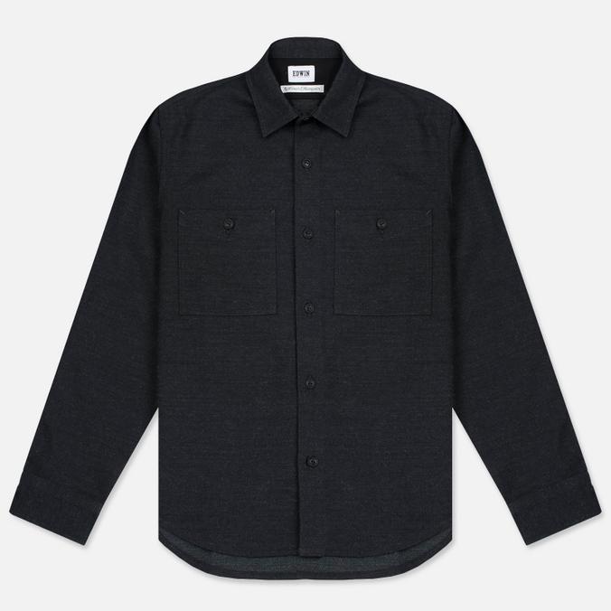 Мужская рубашка Edwin C.P.O. French Flanel Wool Blended Dark Charcoal