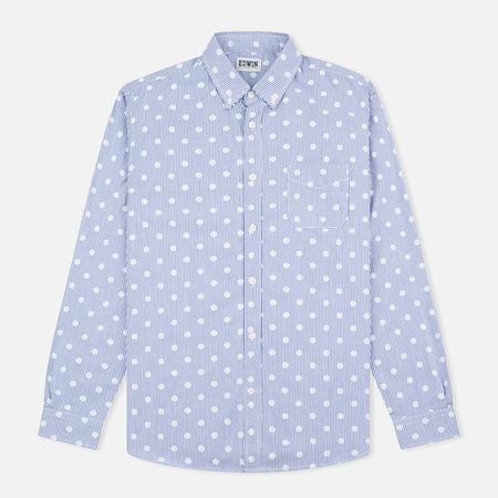 Edwin French Poplin Dots Printed Men's Shirt Navy