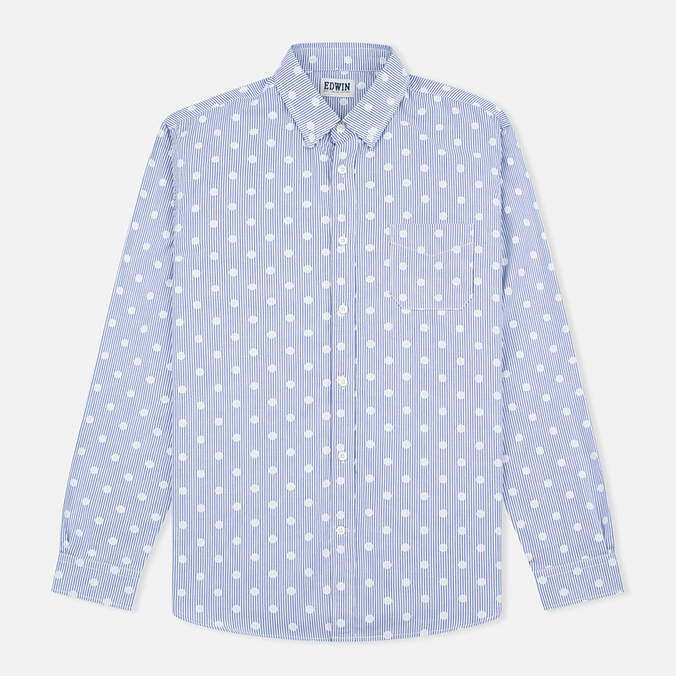 Мужская рубашка Edwin French Poplin Dots Printed Navy