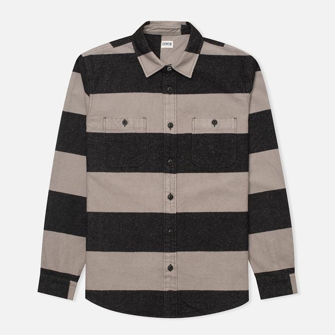 Мужская рубашка Edwin Labour Grey/Black Stripes Heavy Stone Wash