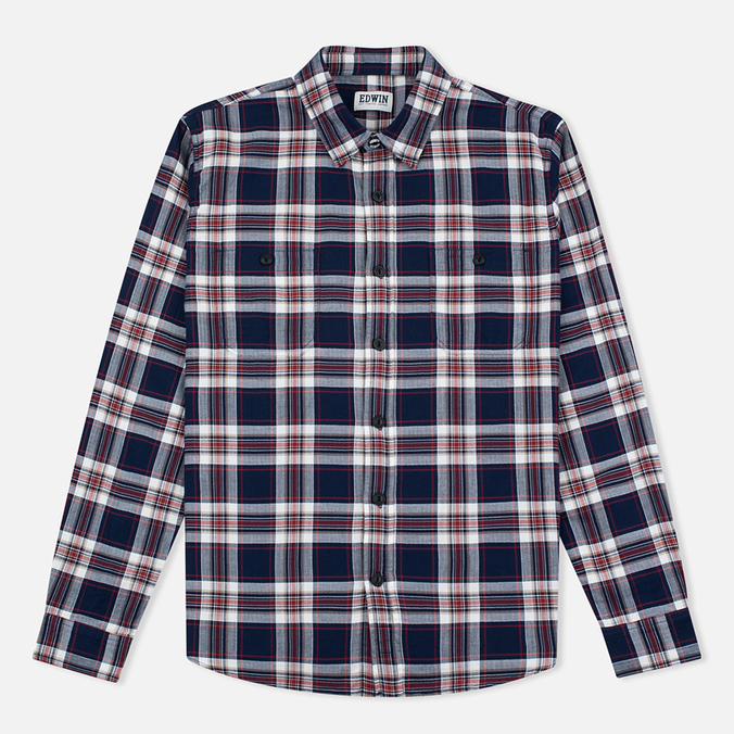 Edwin Labour Herringbone Men's Shirt Blue