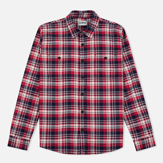 Edwin Labour Herringbone Men's Shirt Red
