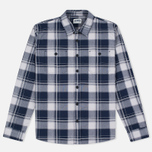 Edwin Labour Poplin Checks Men's Shirt Navy photo- 0