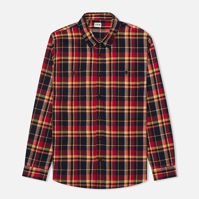 Edwin Labour Men's Shirt Red Check Garment Washed
