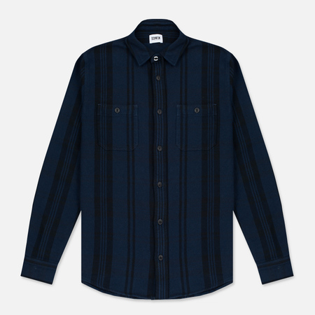 Мужская рубашка Edwin Labour Stripes Navy/Black Garment Washed