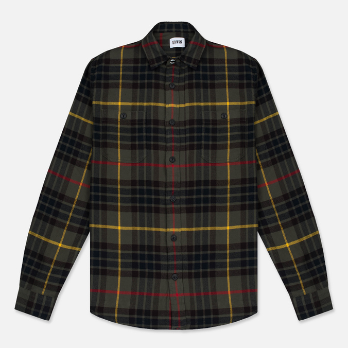 Мужская рубашка Edwin Labour Uniform Green Garment Washed