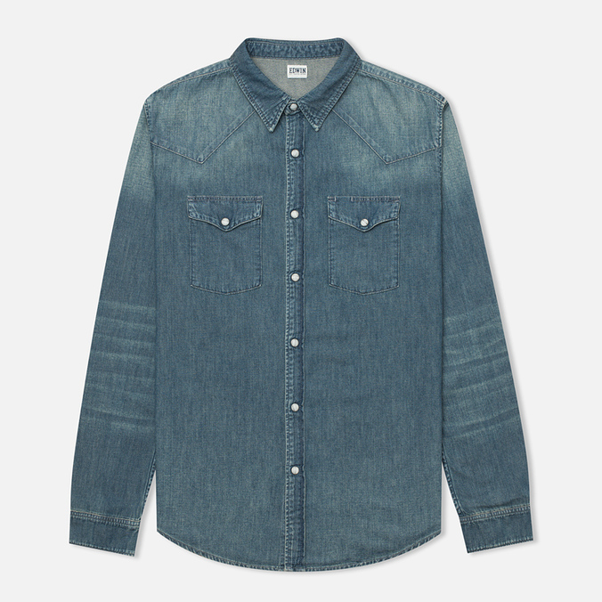 Мужская рубашка Edwin Memphis Denim Surf Blue Air Wash