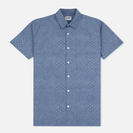 Edwin Nimes SS Poplin Men's Shirt Blue Chambray