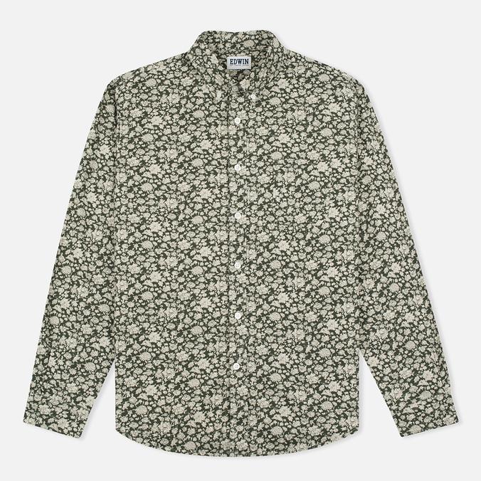 Мужская рубашка Edwin Standard Linen Flowers Printed Khaki