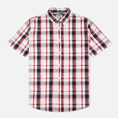 Edwin Standard SS Poplin Check Men's Shirt Red