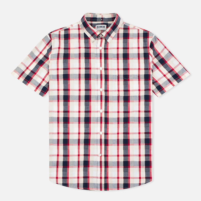 Edwin Standard SS Poplin Check Men's Shirt Red