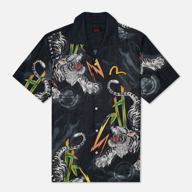 Мужская рубашка Evisu Evergreen Tiger Landscape Printed Denim Multicolor