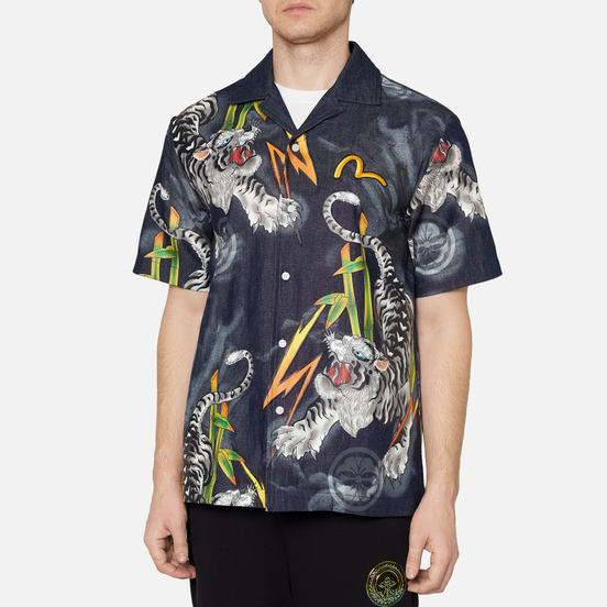 Мужская рубашка Evisu Evergreen Tiger Landscape Printed Denim Multicolor