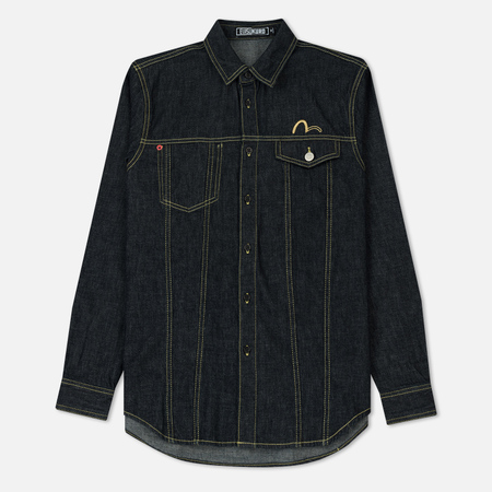 Мужская рубашка Evisu Evisukuro Battle Motif Embroidery Denim Indigo