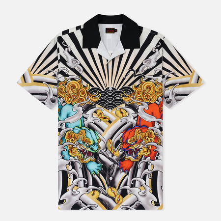Мужская рубашка Evisu Heritage Kirin Lion Tattoo Digital Print All Over Resort Multicolor