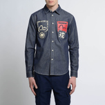 Мужская рубашка Evisu Seagull And Kanji Denim Indigo фото- 5