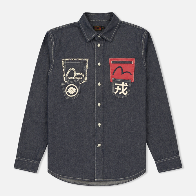 Мужская рубашка Evisu Seagull And Kanji Denim Indigo
