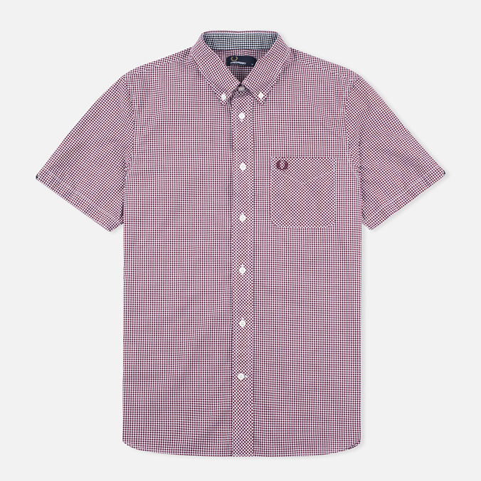 Fred Perry Classic Gingham SS Men's Shirt Mahogany