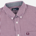 Fred Perry Classic Gingham SS Men's Shirt Mahogany photo- 1