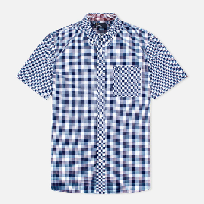 Мужская рубашка Fred Perry Classic SS Gingham Medieval Blue