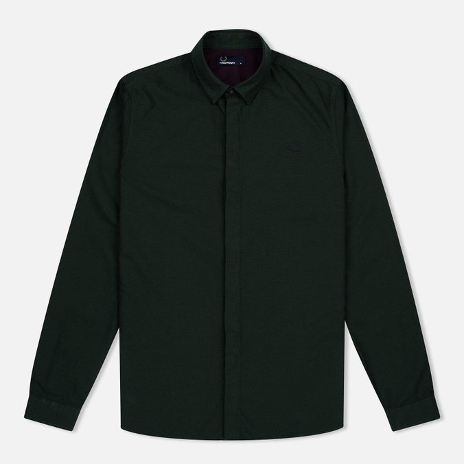 Fred Perry Concealed Placket Oxford British Men's Shirt Racing Green