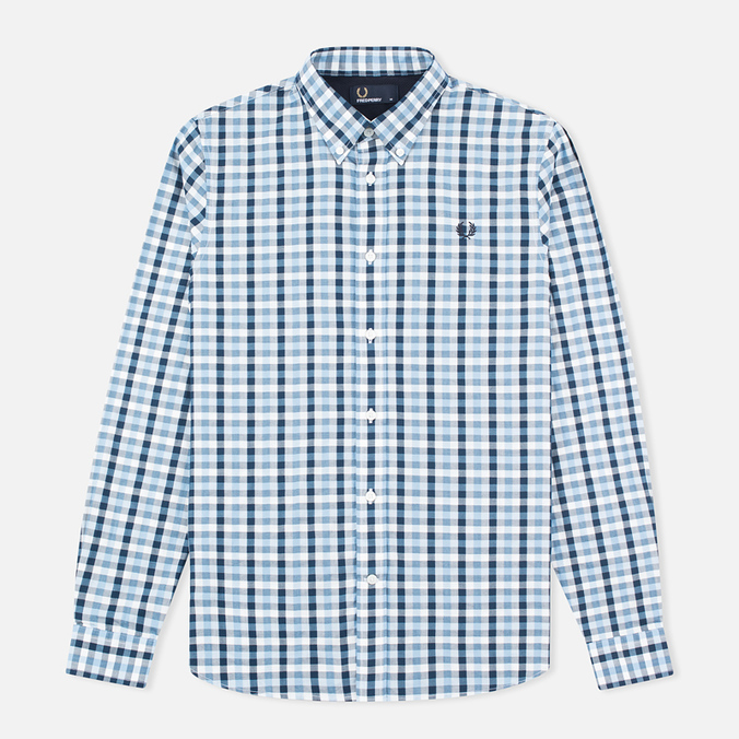 Мужская рубашка Fred Perry Herringbone Gingham Glacier