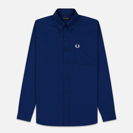 Мужская рубашка Fred Perry Oxford Embroidered Logo Medieval Blue