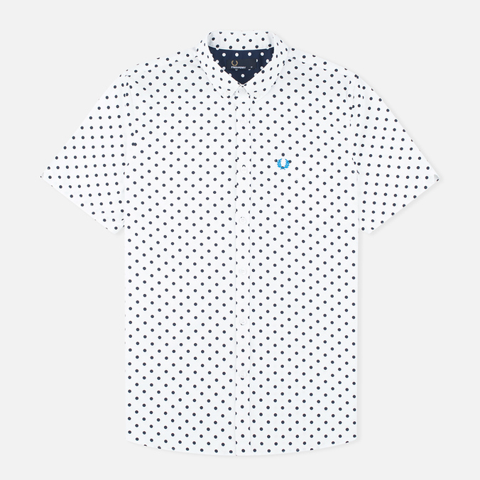 Мужская рубашка Fred Perry Polka Dot SS White