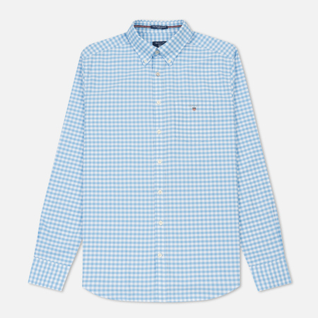 Мужская рубашка Gant Basic The Oxford Gingham Regular Fit BD Capri Blue
