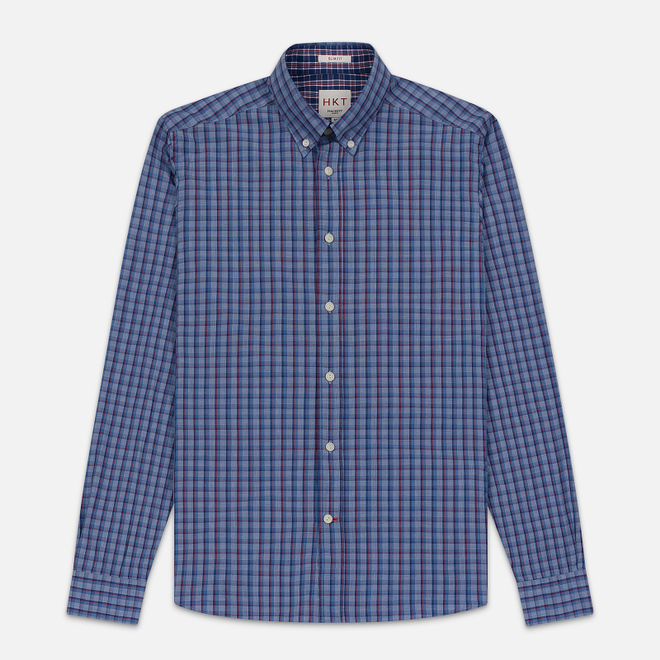 Мужская рубашка Hackett Logo HKT Delave Fil Check Navy/Blue