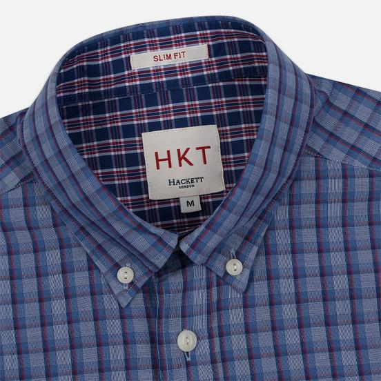 Мужская рубашка Hackett Logo HKT Delave Fil Check Navy/Blue