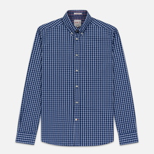 Мужская рубашка Hackett Logo HKT Delave Grid Check Navy/White фото- 0