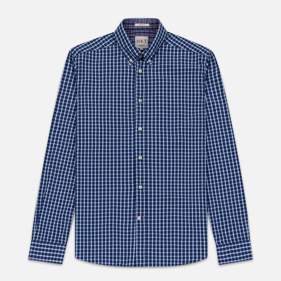 Мужская рубашка Hackett Logo HKT Delave Grid Check Navy/White
