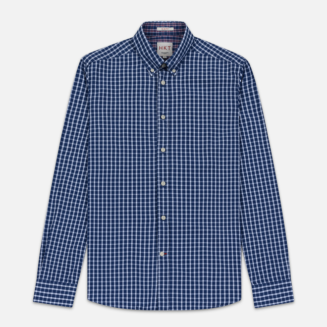 Мужская рубашка Hackett Logo HKT Delave Grid Check Navy/White