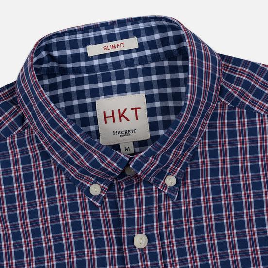 Мужская рубашка Hackett Logo HKT Delave Prep Check Navy/Red
