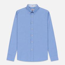Мужская рубашка Hackett Logo HKT Washed Pinpoint Blue фото- 0