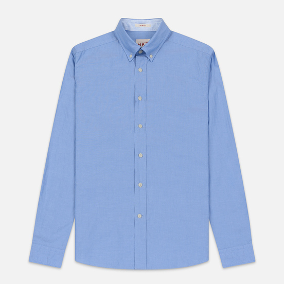 Мужская рубашка Hackett Logo HKT Washed Pinpoint Blue