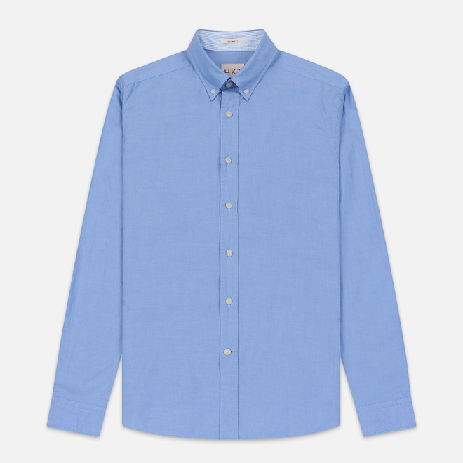 Мужская рубашка Hackett Logo HKT Washed Pinpoint Blue