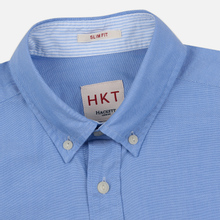 Мужская рубашка Hackett Logo HKT Washed Pinpoint Blue фото- 1