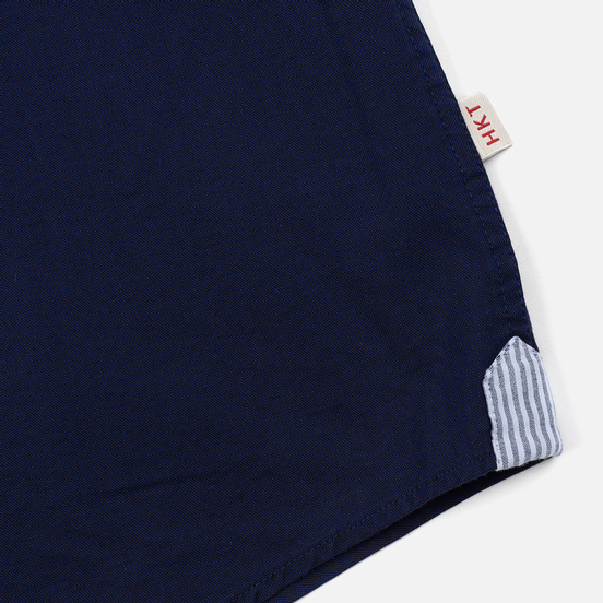Мужская рубашка Hackett Logo HKT Washed Pinpoint Navy