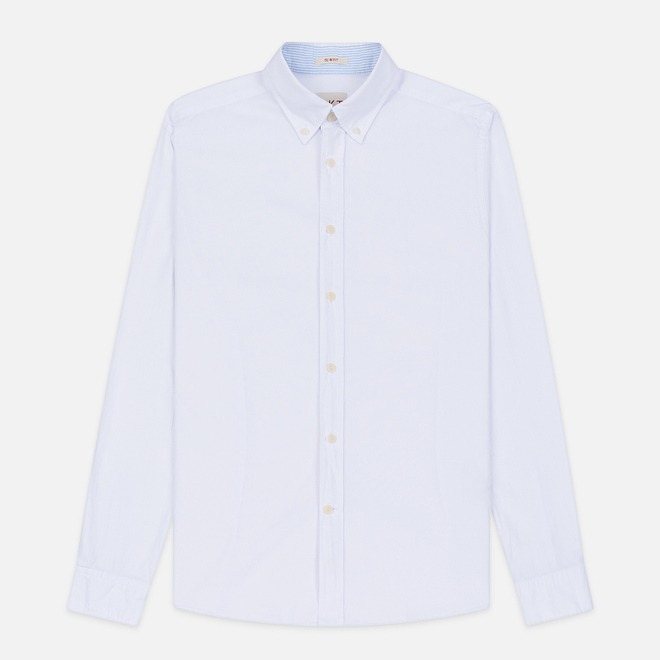Мужская рубашка Hackett Logo HKT Washed Pinpoint White