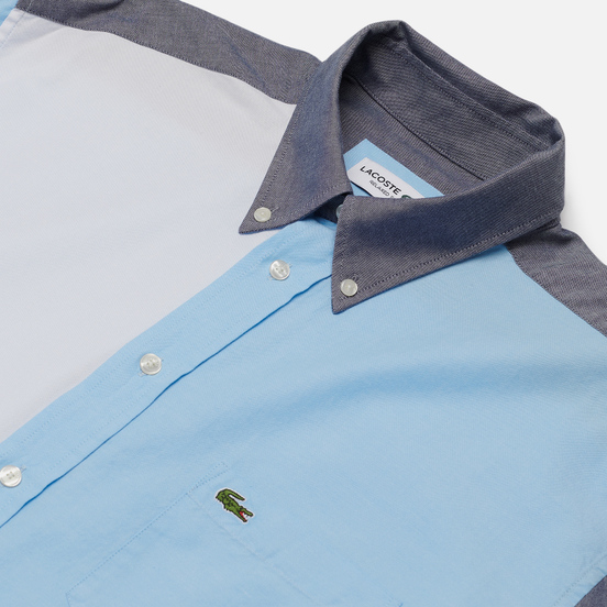 Мужская рубашка Lacoste Colourblock Cotton Navy Blue/Light Blue/White